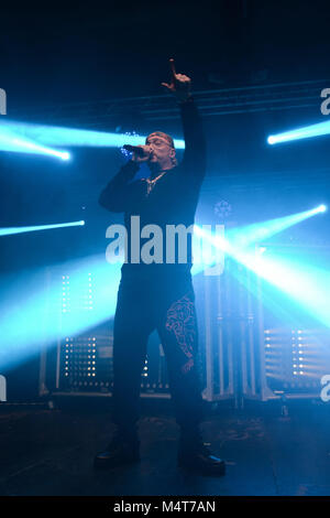 Naples, Italy. 17th Feb, 2018. The italian rapper Gué Pequeno performs on the stage for his tour 'Gentleman Tour - Stock Photo