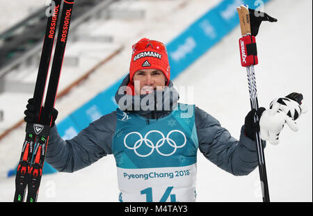 Pyeongchang, South Korea. 18th Feb, 2018. 18 February 2018, South Korea, Pyeongchang, Olympics, Biathlon, Mass start, - Stock Photo