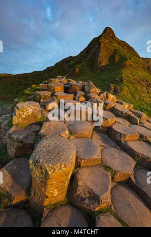 The hexagonal basalt columns of the Giant's Causeway, Country Antrim, Northern Ireland. - Stock Photo