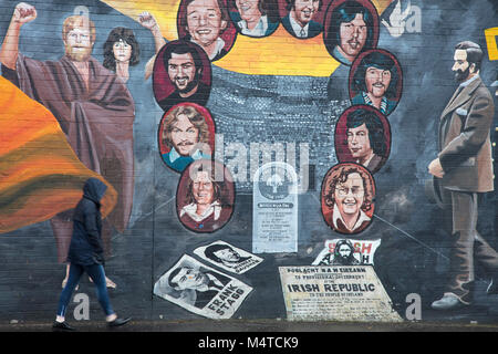 Republican mural commemorating the hunger strike, Falls Road, Belfast, Country Antrim, Northern Ireland. - Stock Photo