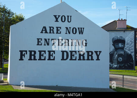 Free Derry Corner in the Bogside, Derry city, County Derry, Northern Ireland. - Stock Photo