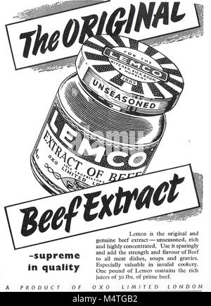 Lemco original beef extract advert, advertising in Country Life magazine UK 1951 - Stock Photo