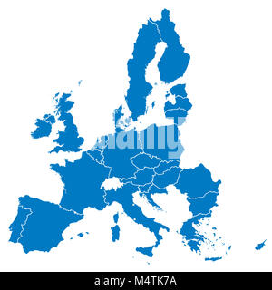 European Union, isolated on white background, with all single countries. All 28 EU members, colored in blue. Political - Stock Photo