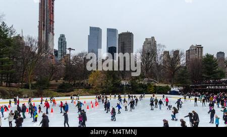 Skating Rink, Central Park, New York, USA - Stock Photo