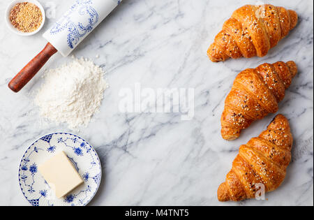 Croissants With Baking Ingredients Traditional French