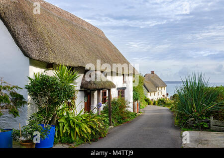 thatched cottages near church cove on the lizard peninsular in cornwall, england, britain, uk. - Stock Photo