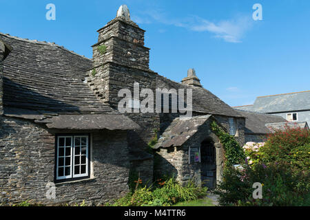 a medieval hall house now the old post office at tintagel, cornwall, england, britain, uk. this image was taken - Stock Photo