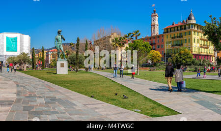 People walking on Promenade du Paillon in center of Nice, France. - Stock Photo