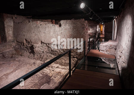 Underground ruins 450 BC – 1 BC related to Celts and Romans in Bratislava Castle Museum of History in Bratislava, - Stock Photo