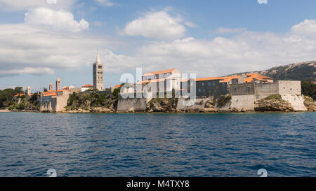 View on Rab old town from seaside - Stock Photo