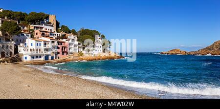 Panoramic view of Sa Tuna, a fishermen village in Costa Brava, Catalonia - Stock Photo