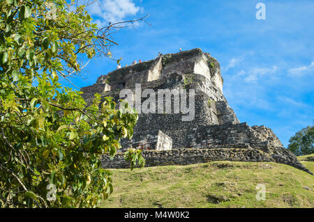 The main pyramid El Castillo at Xunantunich archaeological site of Mayan civilization in Western Belize. Central - Stock Photo