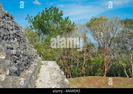 Close up of the walls of El Castillo pyramid at Xunantunich archaeological site of Mayan civilization in Western - Stock Photo