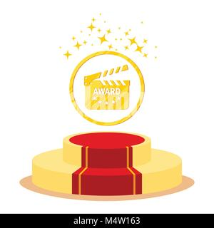 Red carpet and film festival award. Flat vector cartoon Red carpet illustration. Objects isolated on a white background. - Stock Photo