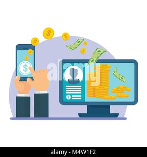 Money transfer using mobile device, computer and smart phone with banking payment app. Internet banking, contactless - Stock Photo