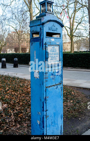 An old Metropolitan Police public telephone box, London, UK - Stock Photo
