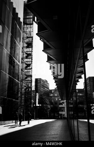 London black and white urban photography: High contrast architecture   and shadows. - Stock Photo