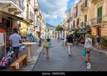 Lipari, Aeolian Islands, Italy - August 22, 2017: Tourists visit Corso Vittorio Emanuele II street in Lipari town, - Stock Photo