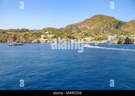Lipari Island seen from the sea, Aeolian Islands, Italy - Stock Photo