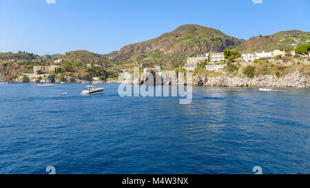 Lipari Island seen from the sea, Aeolian Islands, Italy - Stock Photo