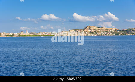 Panoramic view of Milazzo town from the sea, Sicily, Italy - Stock Photo