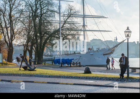 People enjoy a Sunday walk during autumn at Skeppsholmen island in Stockholm. The capital city of Sweden is built on 17 islands.