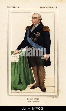 King Louis XVIII of France, Louis Stanislas Xavier, 1755-1824. Handcoloured lithograph from Le Bibliophile Jacob - Stock Photo