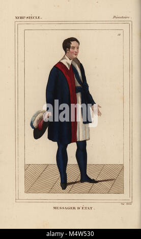 Uniform of a messager d'etat (state messenger) under the Directory. Each councilor had four messengers who wore - Stock Photo