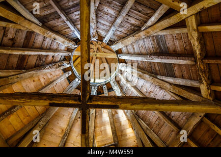 Timbered circular roof and joists of The Pigeon House, a folly in Painswick Rococo Garden, Painswick, Gloucestershire - Stock Photo