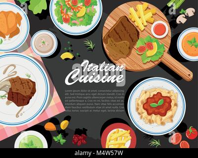 Background design with different types of food illustration - Stock Photo