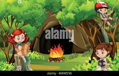 Three kids camping in the woods illustration - Stock Photo