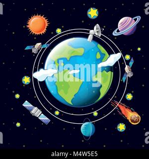 Space theme with satellites and planets around earth illustration - Stock Photo