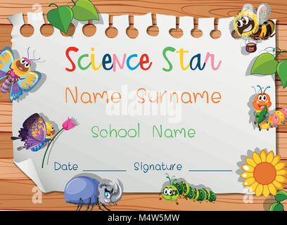 Certificate Template For Science Award Illustration Stock Vector Art