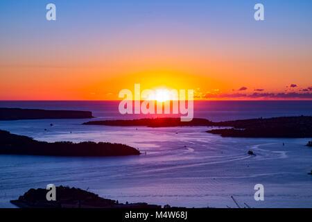 Sunrise from Sydney Tower, Sydney, Australia looking towards Sydney Heads - Stock Photo