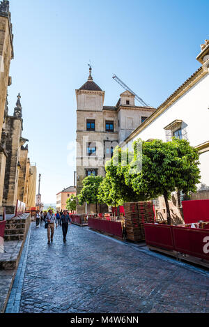Cordoba, Spain - April 12, 2017: Unidentified people in the streets of old city of Cordoba near Mosque Cathedral - Stock Photo