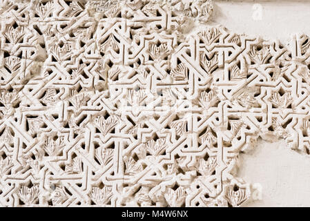 Cordoba, Spain - April 12, 2017: Geometric  decoration  on the wall in the synagogue of Cordoba. - Stock Photo