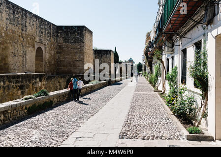 Cordoba, Spain - April 12, 2017: Old Roman Walls in Cordoba in jewish quarter. - Stock Photo
