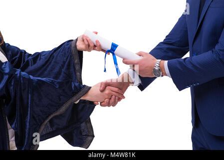 Student receiving diploma after graduation - Stock Photo