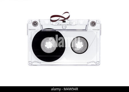 Audio tape cassette isolated on white background. Tape cassette. Magnetic tape. - Stock Photo