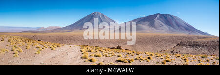 Licancabur Volcano in the Atacama Desert on the border between Bolivia and Chile - Stock Photo