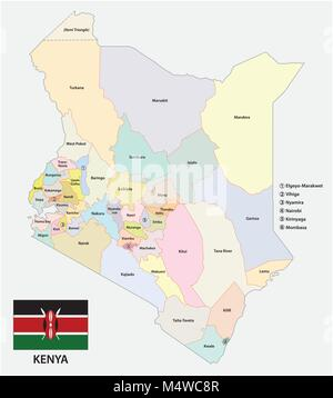 Administrative and political vector map of the Republic of Kenya with flag - Stock Photo