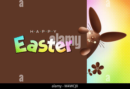 Happy easter chocolate funny bunny showing the sign with text on happy easter chocolate funny bunny showing the sign with text on colorful background gift negle Images