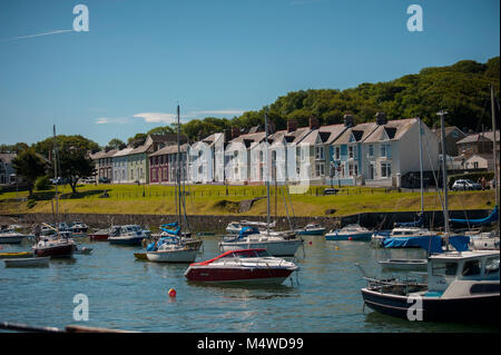 Aberaeron Harbor on a sunny summers day - Stock Photo