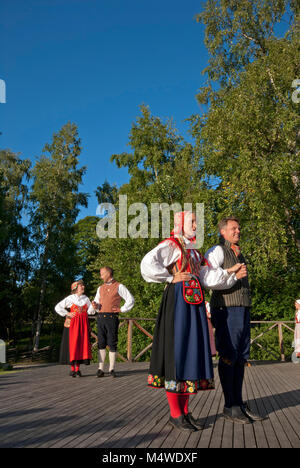 Folk dancers in traditional dress, Skansen Open-Air Museum, Stockholm, Sweden - Stock Photo