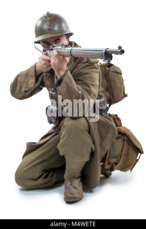 french soldier 1940 isolated on the white background - Stock Photo