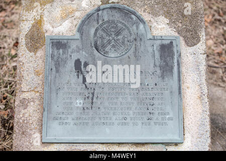 historic place marked by a marker at Fire Place landing in east hampton, ny - Stock Photo