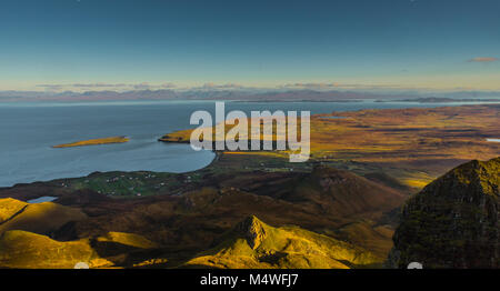 The Quiraing and Staffin, looking over towards Torridon - Stock Photo