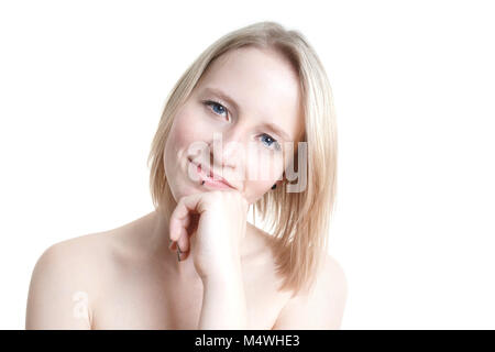 blue-eyed blonde young woman - Stock Photo