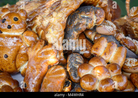 Delicious buns baked in various shapes and sprinkled with poppy seeds and other spices. - Stock Photo