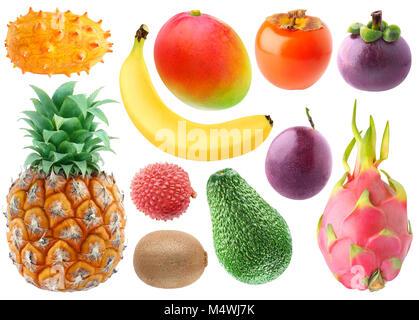 Isolated tropical fruits collection. Fresh kiwano, banana, mango, persimmon, mangosteen, pineapple, lichee, kiwi, - Stock Photo